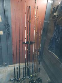 Numerous rods and reels. Mostly Shakespeare and shimano.