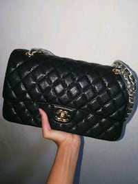 black leather Chanel leather bag Singapore, 470117