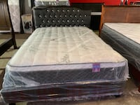 Leather queen bed with new pillow top mattress  Bakersfield, 93307