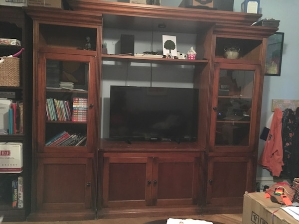 Real wood TV wall unit cabinet