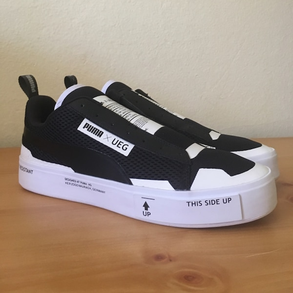new arrival 3475c 27554 Used Puma X UEG men s shoes black white court play slip on sneakers SZ 8  for sale in Corona