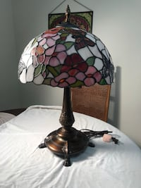 white, pink, and red floral stained glass table lamp North Bergen, 07047