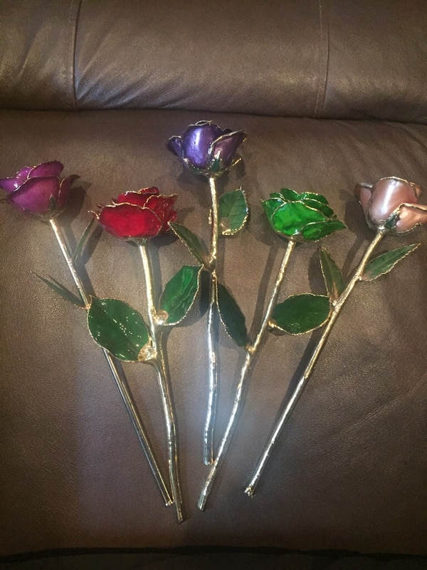 Five 24k Gold Dipped Roses