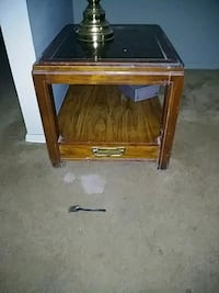 brown wooden framed glass top side table Marietta, 30060