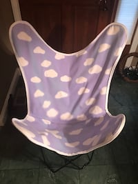 Chair white clouds on purple fabric
