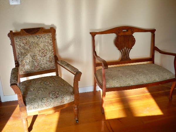 Antique Tapestry Chair With Wood Trim