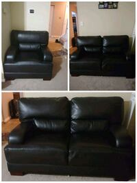 Black leather loveseat and armchair Alexandria, 22310