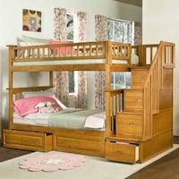 brown wooden bunk bed with storage Mc Lean, 22102