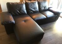 black leather sectional sofa with ottoman Brea, 92821