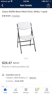 Costco waffle resin chair Franklin, 37067