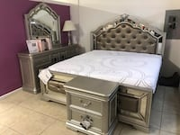white and gray wooden bed frame Houston, 77041