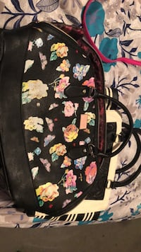 black and pink floral leather handbag Happy Valley, 97086