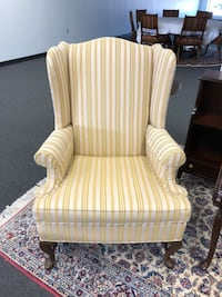 Pair  (2) Ethan Allen Queen Anne Wing Back Chairs -pair