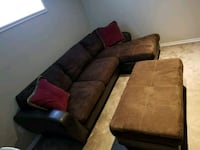 brown leather sectional sofa with throw pillows Edmonton, T6M 0K8