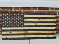 wood burnt american flag sign Raeford, 28376