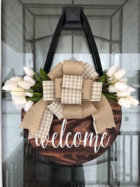 Welcome Stained Front Door Hanger, Door Decor, Welcome Sign