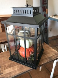 Black metal and glass lantern fall home decor with pumpkins Riverbank, 95367
