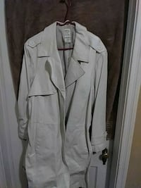 Off White Leather Trench Coat