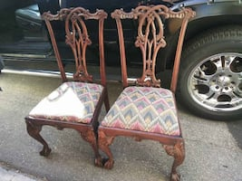 Two-2-Antique-Carved-Ornate-Ornamental-Solid-Wood-Formal-Dining-Room-Chairs thumbnail 1 Two-2-Antique-Carved-Ornate-Ornamental-Solid-Wood-Formal-Dining-Room-Chairs thumbnail 2 Two-2-Antique-Carved-Ornate-Ornamental-Solid-Wood-Formal-Dining-Room-Chairs th