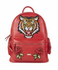 Croc Skin Designer Gucci-Inspired Tiger Backpack