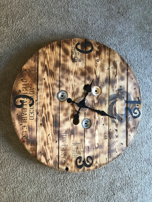 29 Reclaimed Wooden Spool Clock Rustic Look Can Do Different Sizes