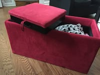 Red Suede Storage Ottoman with Trays Arlington, 22204