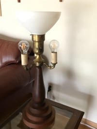 brown wooden base with white lampshade table lamp GROVECITY
