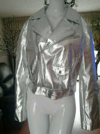 Silver leather jacket Maple Ridge