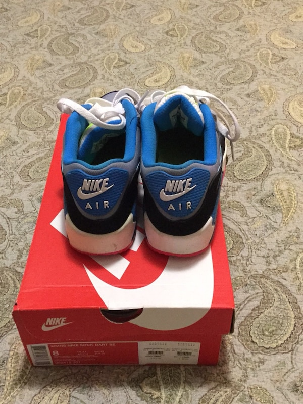 blue-and-white Nike Air Max shoes