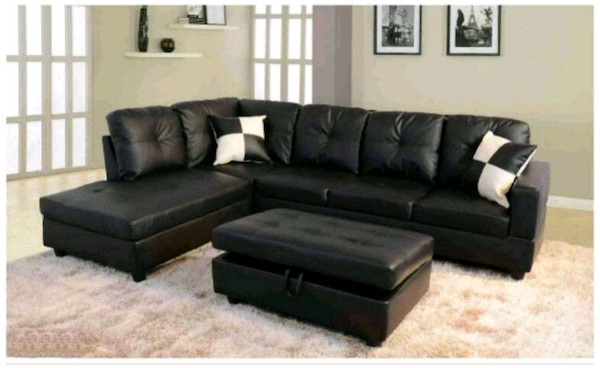 Black Leather Sectional Sofa With Ottoman New