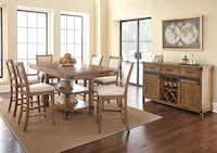 Brown and beige wooden 7-piece dining table set