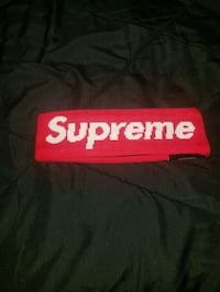 black and red Supreme textile