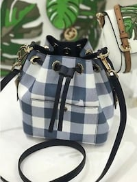 White and black plaid leather backpack Addison, 60101