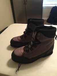 brown-and-black wading boots size 12 will fit shoe size 10 with stocking foot waders. Like new $30.00 OBO Gulf Shores, 36542