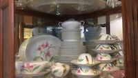 White-and-pink floral ceramic dinnerware set 50 years old  Aurora, 80247