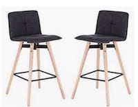 Grey Fabric Stools with Beechwood Legs (2) Whitby