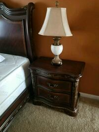 brown wooden base white shade table lamp Clinton, 20735