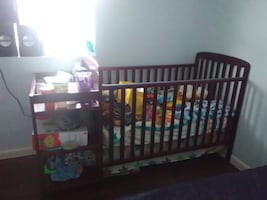 Baby crib with bed and changing table