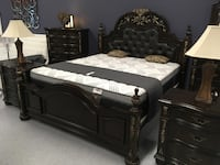 King Heirloom Estate Leather Tufted 6pc Bedroom Collection *$40 Down *