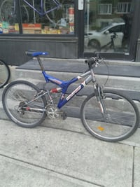 blue and gray full-suspension bike