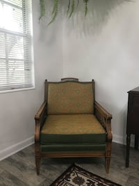 Antique chair green and orange wood frame Tampa, 33604