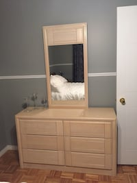 Light cream colour solid great condition dresser mirror and night stand Laval, H7L 5Y7