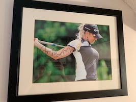 Framed and signed picture of Natalie Gulbish LPGA