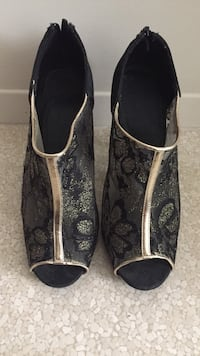 Black and gold-colored open toe boots all Calgary, T3A