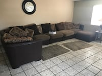 Extra large  Brown sectional with throw pillows