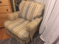 White, gray, and green stripe sofa chair. Mount Pleasant, 29464