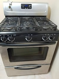 gray and black Whirlpool gas range oven