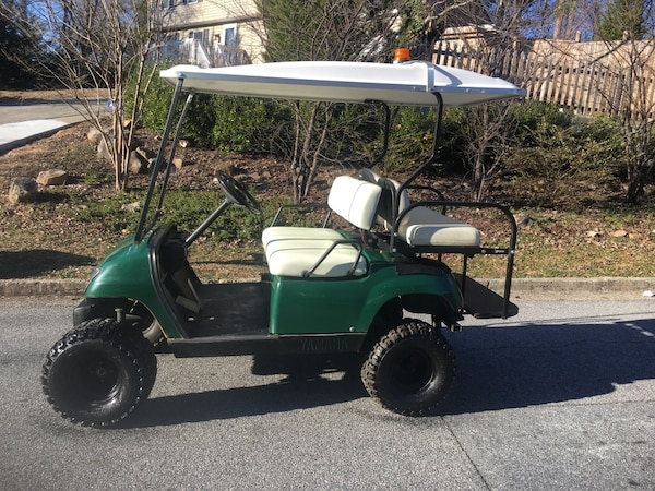 Used 2006 Gas Yamaha Lifted Extended Roof Green And White Golf Cart For Sale In Peachtree City