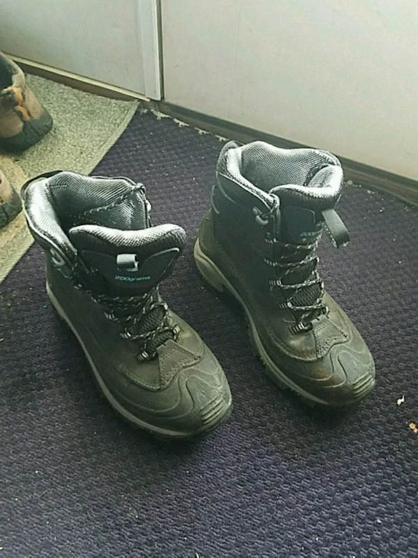 pair of black-and-gray hiking boots