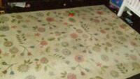 white and green floral rug Ocala